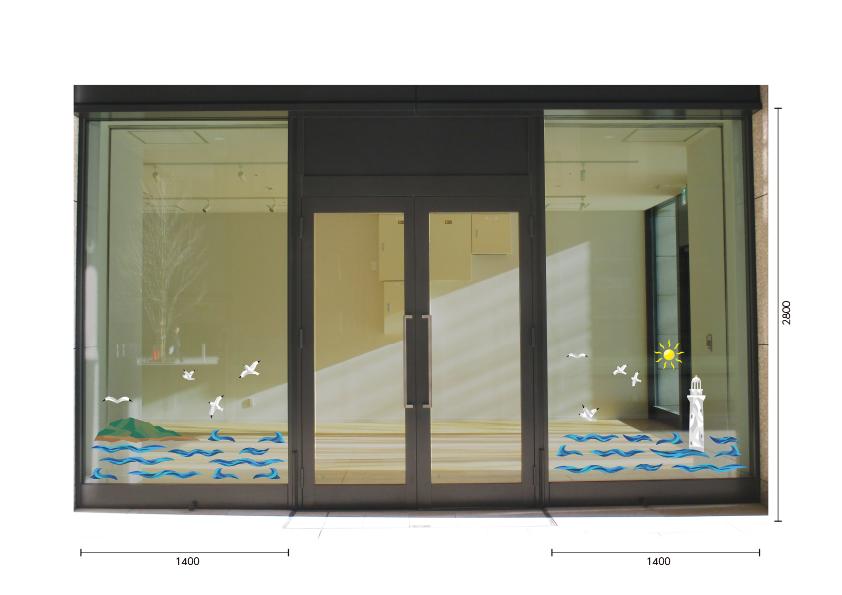 【VP】カットガラス風 灯台と海の施工写真
